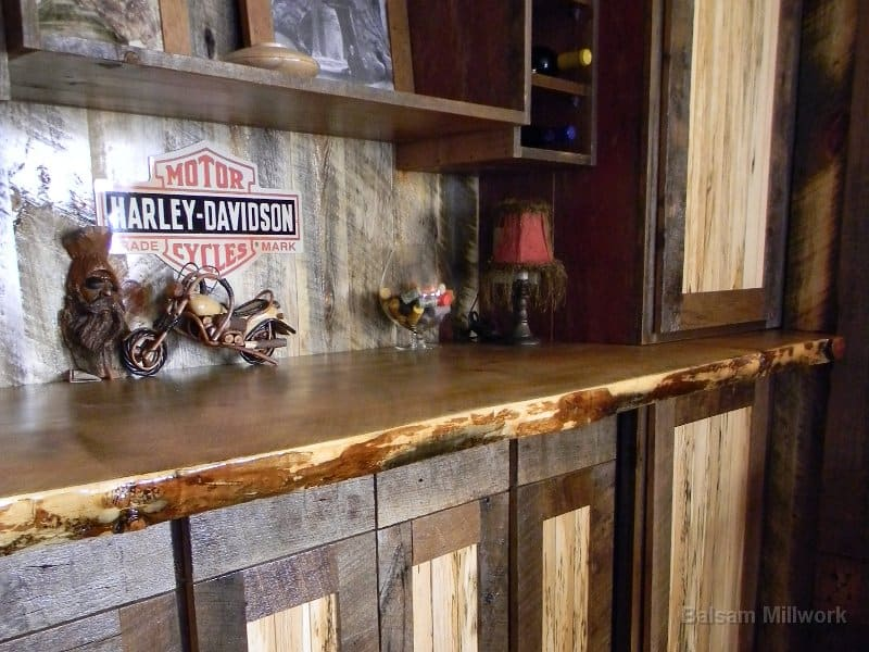 Custom_Reclaimed_Wood_Cabinets. End_Grain_Brick_with_Wormy_Butternut_bar.  End_Grained_Brick_with_Butternut_Cabinets
