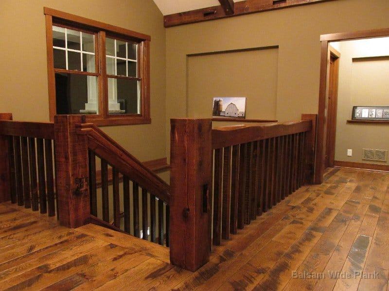Reclaim_Pine_Handrails_&_Ballusters_on_a_Character_Skip_Sawn_White_Oak_Floor