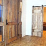 Faded White Interior Office Barn Doors + Reclaim Faded Brown Oak/Faded Red (exterior) Exterior door + ceiling + Reclaim End Grain Block flooring