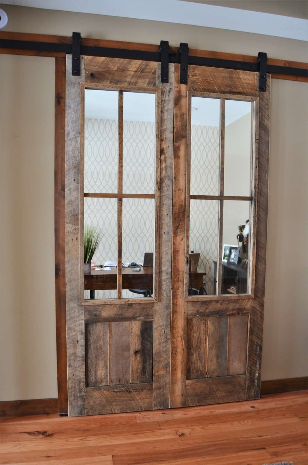 Reclaim Pine Barn Track Interior Doors with Glass..
